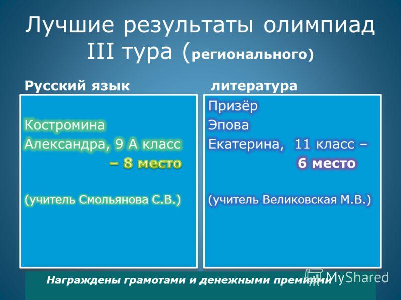 Лучшие результаты олимпиад III тура ( регионального) Русский языклитература Награждены грамотами и денежными премиями