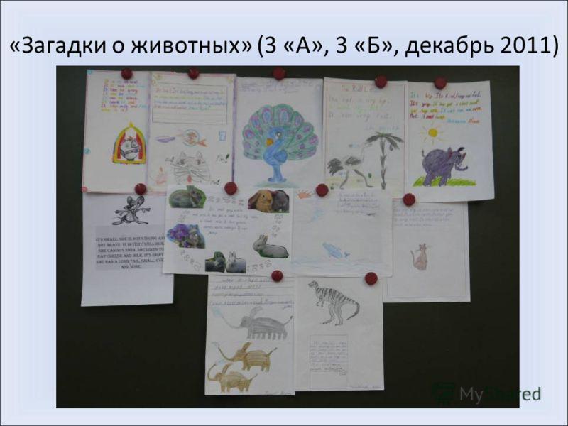 «Загадки о животных» (3 «А», 3 «Б», декабрь 2011)