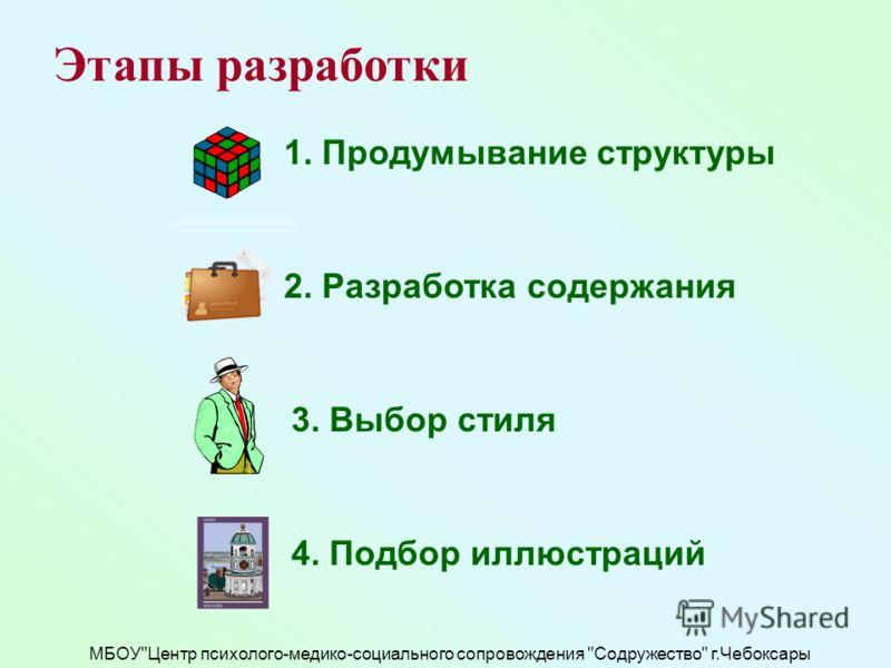 МБОУЦентр психолого-медико-социального сопровождения Содружество г.Чебоксары Этапы разработки 1. Продумывание структуры 2. Разработка содержания 3. Выбор стиля 4. Подбор иллюстраций