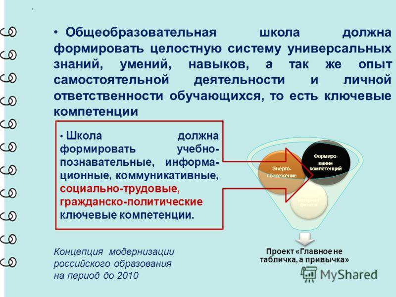 .. Общеобразовательная школа должна формировать целостную систему универсальных знаний, умений, навыков, а так же опыт самостоятельной деятельности и личной ответственности обучающихся, то есть ключевые компетенции Концепция модернизации российского