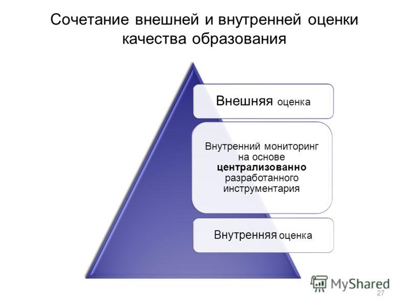 Сочетание внешней и внутренней оценки качества образования Внешняя оценка Внутренний мониторинг на основе централизованно разработанного инструментария Внутренняя оценка 27