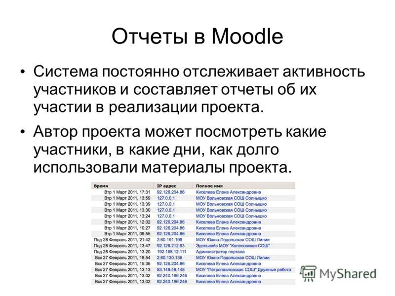 Отчеты в Moodle Система постоянно отслеживает активность участников и составляет отчеты об их участии в реализации проекта. Автор проекта может посмотреть какие участники, в какие дни, как долго использовали материалы проекта. 18