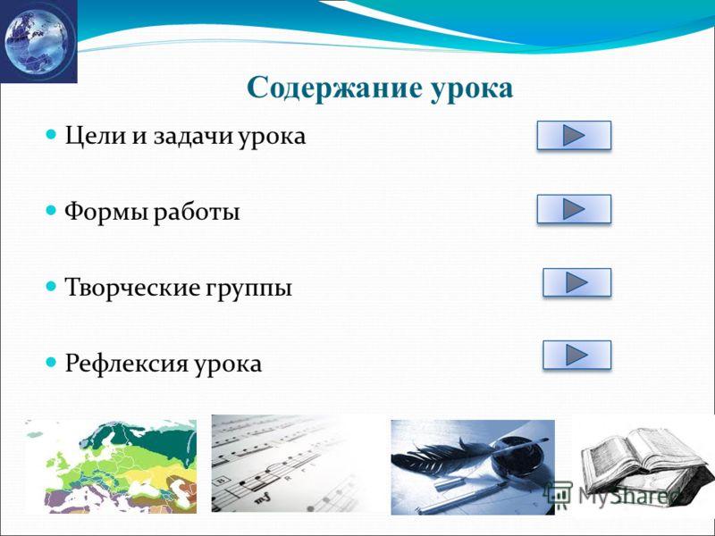 Содержание урока Цели и задачи урока Формы работы Творческие группы Рефлексия урока