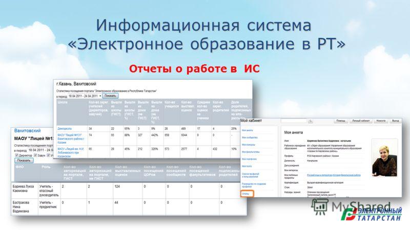 Информационная система «Электронное образование в РТ» «Электронное образование в РТ» Отчеты о работе в ИС