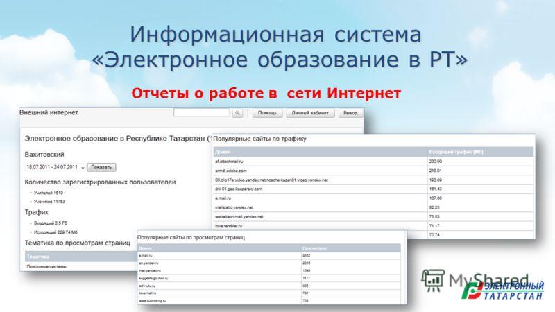 Информационная система «Электронное образование в РТ» «Электронное образование в РТ» Отчеты о работе в сети Интернет