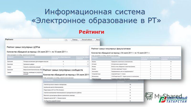 Информационная система «Электронное образование в РТ» «Электронное образование в РТ» Рейтинги