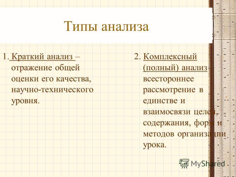 Типы анализа 1. Краткий анализ – отражение общей оценки его качества, научно-технического уровня. 2. Комплексный (полный) анализ – всестороннее рассмотрение в единстве и взаимосвязи целей, содержания, форм и методов организации урока.