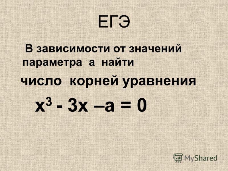 ЕГЭ В зависимости от значений параметра а найти число корней уравнения х 3 - 3х –а = 0