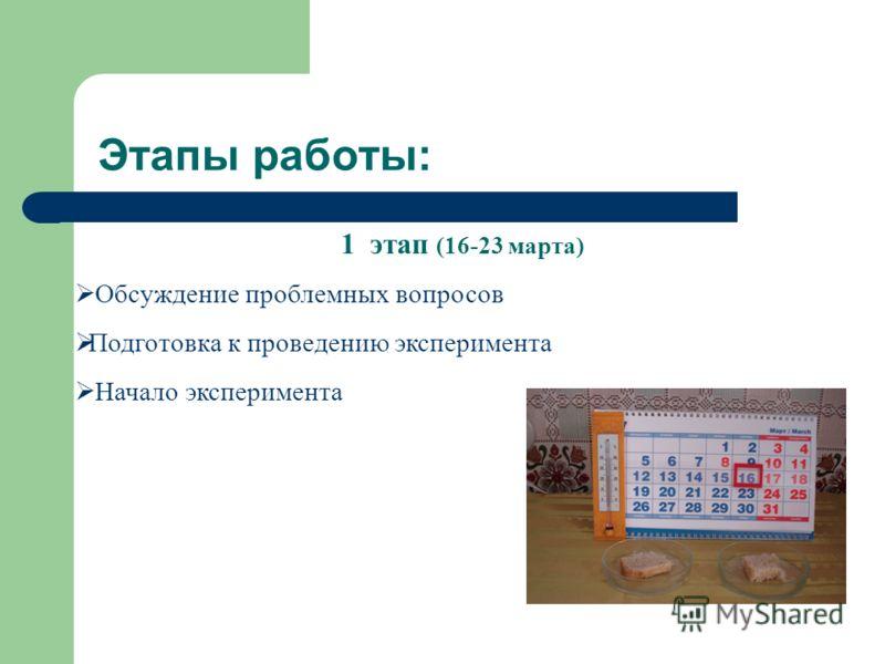 Этапы работы: 1 этап (16-23 марта) Обсуждение проблемных вопросов Подготовка к проведению эксперимента Начало эксперимента