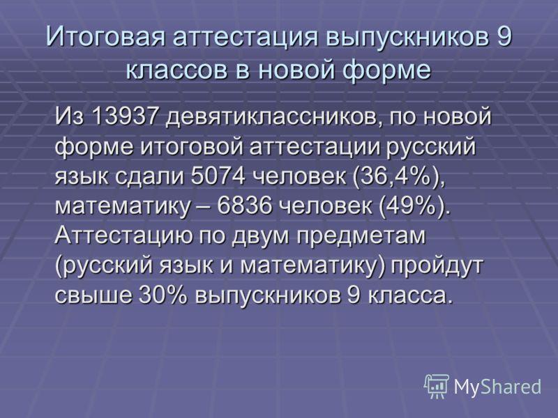 Итоговая аттестация выпускников 9 классов в новой форме Из 13937 девятиклассников, по новой форме итоговой аттестации русский язык сдали 5074 человек (36,4%), математику – 6836 человек (49%). Аттестацию по двум предметам (русский язык и математику) п