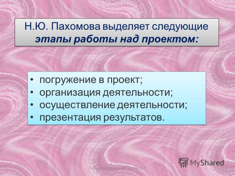 Н.Ю. Пахомова выделяет следующие этапы работы над проектом: погружение в проект; организация деятельности; осуществление деятельности; презентация результатов. погружение в проект; организация деятельности; осуществление деятельности; презентация рез