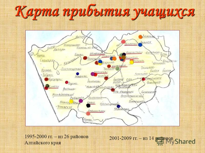 Карта прибытия учащихся 2001-2009 гг. – из 14 районов 1995-2000 гг. – из 26 районов Алтайского края