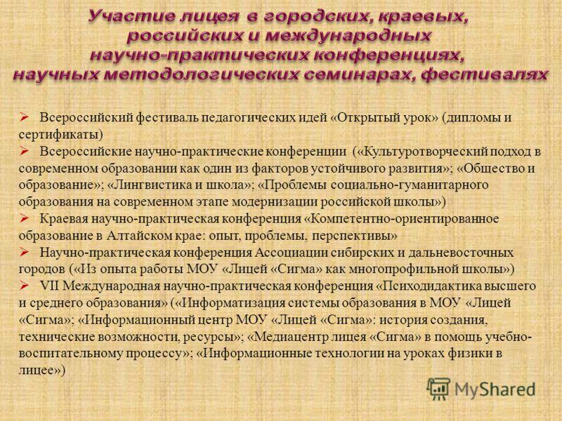 Всероссийский фестиваль педагогических идей «Открытый урок» (дипломы и сертификаты) Всероссийские научно-практические конференции («Культуротворческий подход в современном образовании как один из факторов устойчивого развития»; «Общество и образовани