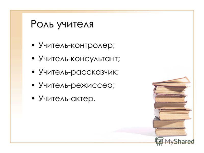 Роль учителя Учитель-контролер; Учитель-консультант; Учитель-рассказчик; Учитель-режиссер; Учитель-актер.