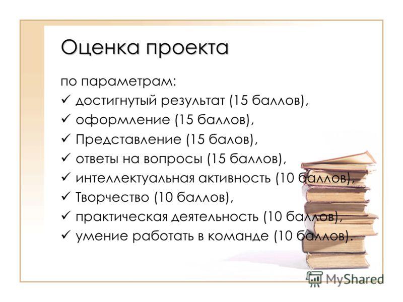 Оценка проекта по параметрам: достигнутый результат (15 баллов), оформление (15 баллов), Представление (15 балов), ответы на вопросы (15 баллов), интеллектуальная активность (10 баллов), Творчество (10 баллов), практическая деятельность (10 баллов),