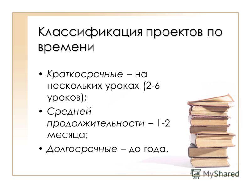 Классификация проектов по времени Краткосрочные – на нескольких уроках (2-6 уроков); Средней продолжительности – 1-2 месяца; Долгосрочные – до года.