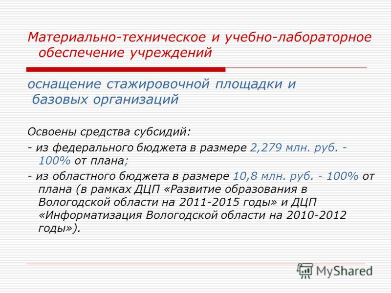 Материально-техническое и учебно-лабораторное обеспечение учреждений оснащение стажировочной площадки и базовых организаций Освоены средства субсидий: - из федерального бюджета в размере 2,279 млн. руб. - 100% от плана; - из областного бюджета в разм