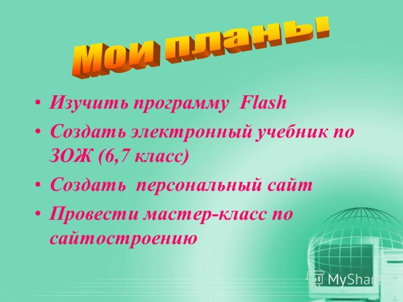 Изучить программу Flash Создать электронный учебник по ЗОЖ (6,7 класс) Создать персональный сайт Провести мастер-класс по сайтостроению