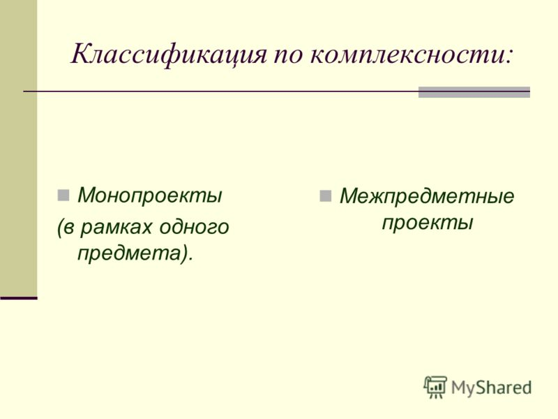 Классификация по комплексности: Монопроекты (в рамках одного предмета). Межпредметные проекты