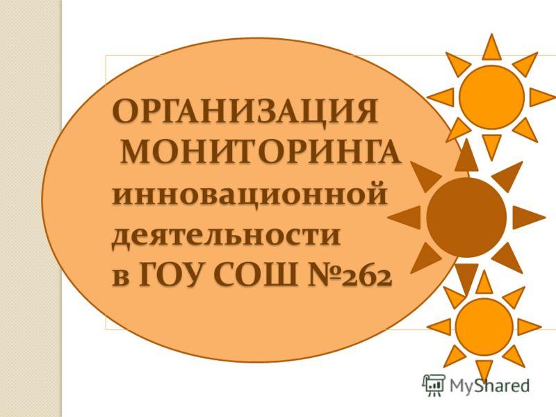 ОРГАНИЗАЦИЯ МОНИТОРИНГА инновационной деятельности в ГОУ СОШ 262