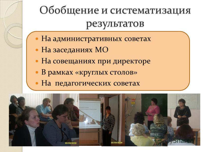 Обобщение и систематизация результатов На административных советах На заседаниях МО На совещаниях при директоре В рамках «круглых столов» На педагогических советах