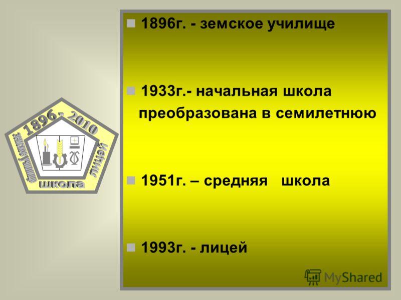 1896г. - земское училище 1933г.- начальная школа преобразована в семилетнюю 1951г. – средняя школа 1993г. - лицей