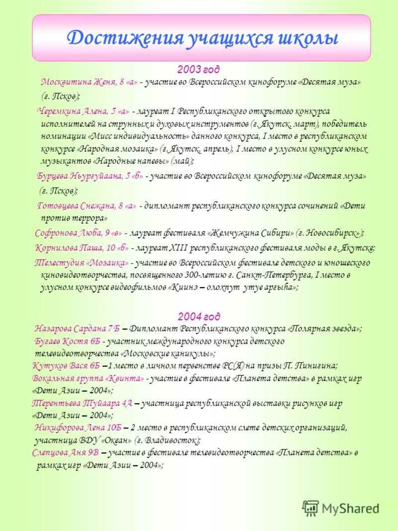 Достижения учащихся школы 2003 год Москвитина Женя, 8 «а» - участие во Всероссийском кинофоруме «Десятая муза» (г. Псков); Черемкина Алена, 5 «а» - лауреат I Республиканского открытого конкурса исполнителей на струнных и духовых инструментов (г. Якут