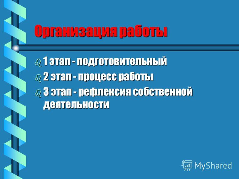 Организация работы b 1 этап - подготовительный b 2 этап - процесс работы b 3 этап - рефлексия собственной деятельности