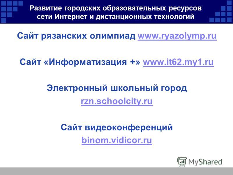 Развитие городских образовательных ресурсов сети Интернет и дистанционных технологий Сайт рязанских олимпиад www.ryazolymp.ruwww.ryazolymp.ru Сайт «Информатизация +» www.it62.my1.ruwww.it62.my1.ru Электронный школьный город rzn.schoolcity.ru Сайт вид