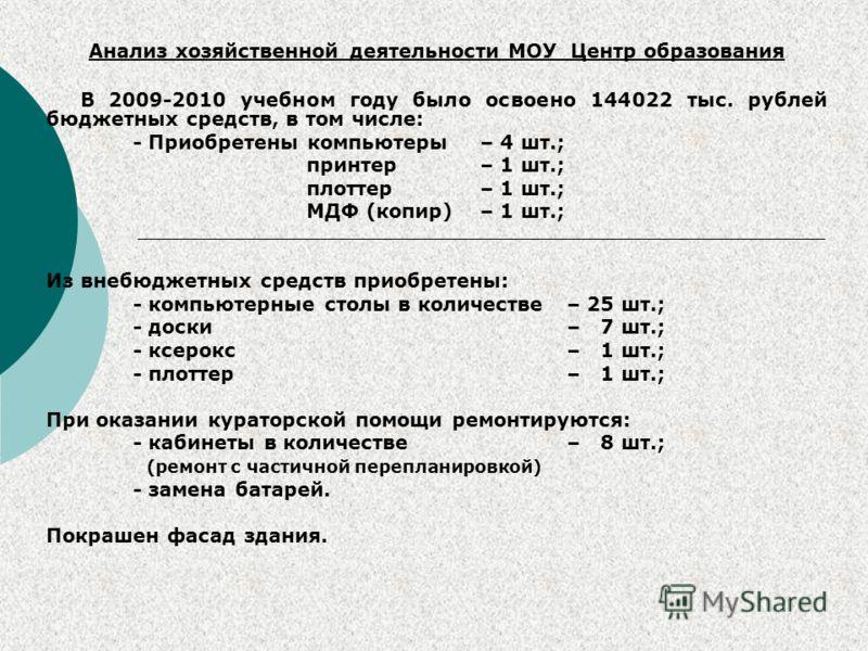 Анализ хозяйственной деятельности МОУ Центр образования В 2009-2010 учебном году было освоено 144022 тыс. рублей бюджетных средств, в том числе: - Приобретены компьютеры – 4 шт.; принтер – 1 шт.; плоттер – 1 шт.; МДФ (копир) – 1 шт.; Из внебюджетных