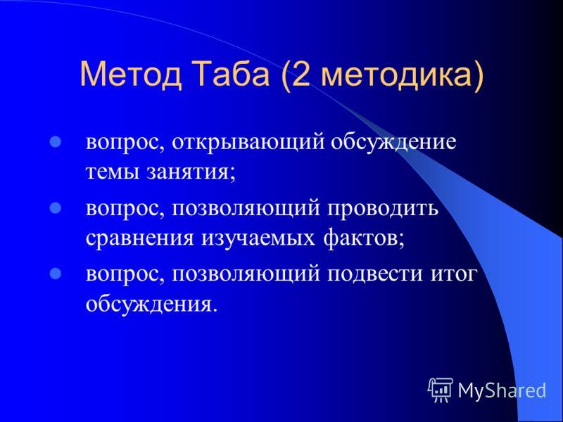 Метод Таба (2 методика) вопрос, открывающий обсуждение темы занятия; вопрос, позволяющий проводить сравнения изучаемых фактов; вопрос, позволяющий подвести итог обсуждения.