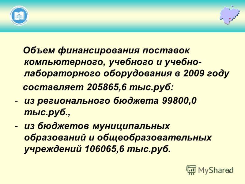6 Объем финансирования поставок компьютерного, учебного и учебно- лабораторного оборудования в 2009 году составляет 205865,6 тыс.руб: -из регионального бюджета 99800,0 тыс.руб., -из бюджетов муниципальных образований и общеобразовательных учреждений