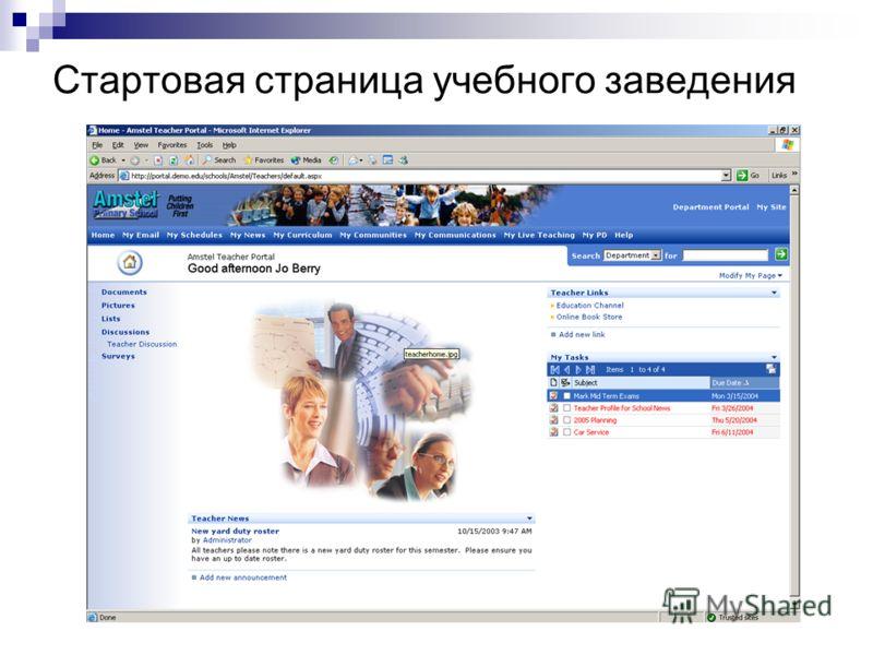 Стартовая страница учебного заведения