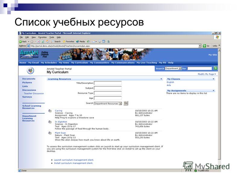 Список учебных ресурсов