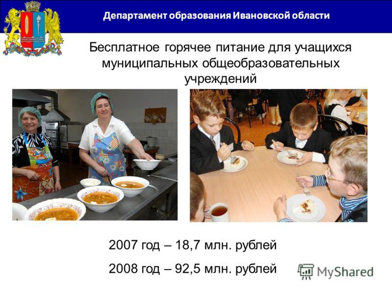 Департамент образования Ивановской области 2007 год – 18,7 млн. рублей 2008 год – 92,5 млн. рублей Бесплатное горячее питание для учащихся муниципальных общеобразовательных учреждений