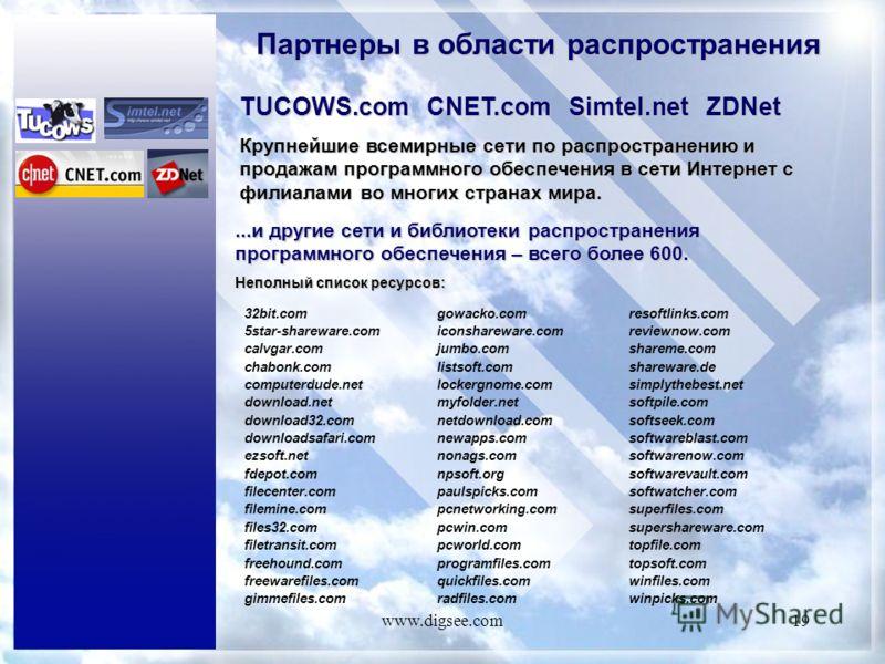 www.digsee.com19 Партнеры в области распространения TUCOWS.com CNET.com Simtel.net ZDNet Крупнейшие всемирные сети по распространению и продажам программного обеспечения в сети Интернет с филиалами во многих странах мира....и другие сети и библиотеки