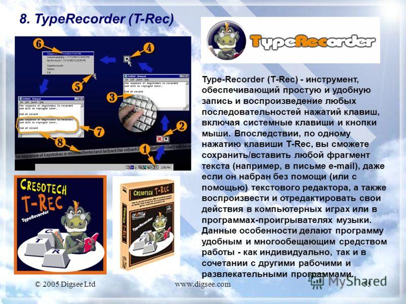 © 2005 Digsee Ltdwww.digsee.com55 8. TypeRecorder (T-Rec) Type-Recorder (T-Rec) - инструмент, обеспечивающий простую и удобную запись и воспроизведение любых последовательностей нажатий клавиш, включая системные клавиши и кнопки мыши. Впоследствии, п