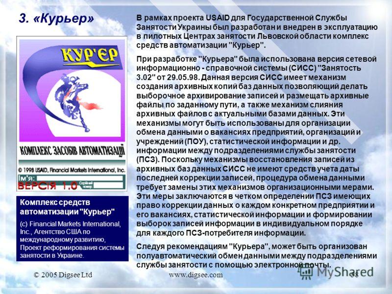 © 2005 Digsee Ltdwww.digsee.com58 3. «Курьер» Комплекс средств автоматизации