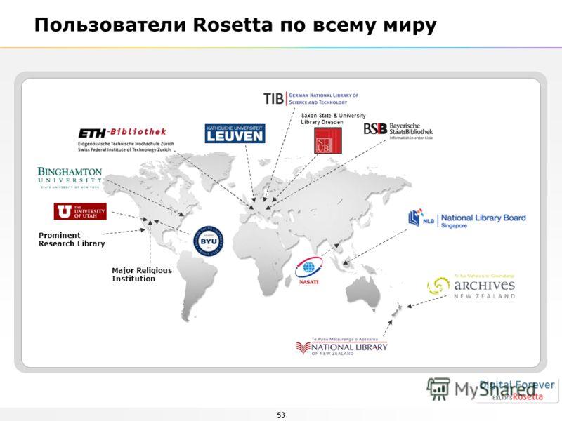 53 Пользователи Rosetta по всему миру Major Religious Institution Prominent Research Library Saxon State & University Library Dresden