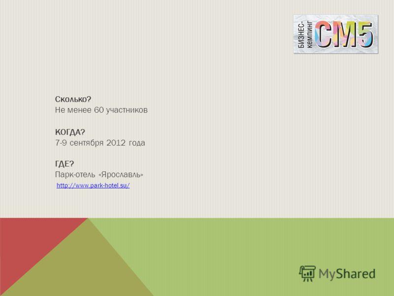 Сколько? Не менее 60 участников КОГДА? 7-9 сентября 2012 года ГДЕ? Парк-отель «Ярославль» http://www.park-hotel.su/