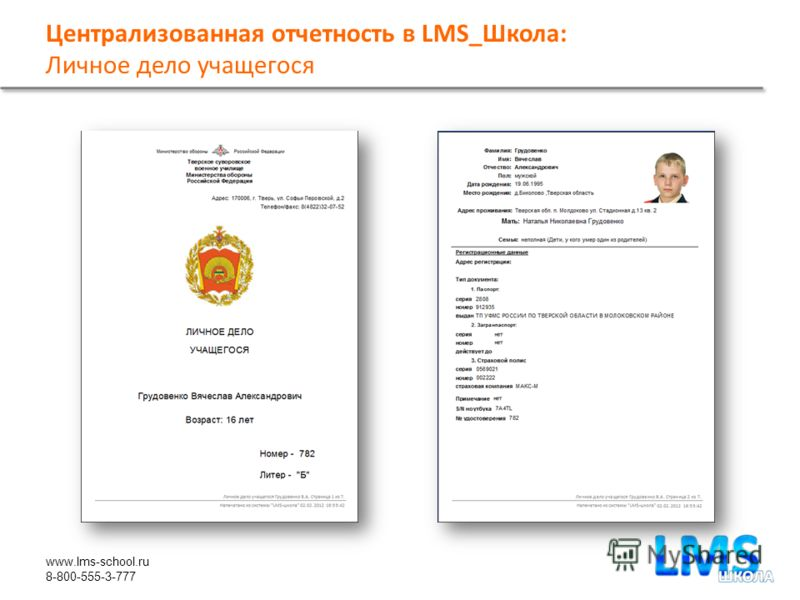 www.lms-school.ru 8-800-555-3-777 Централизованная отчетность в LMS_Школа: Личное дело учащегося