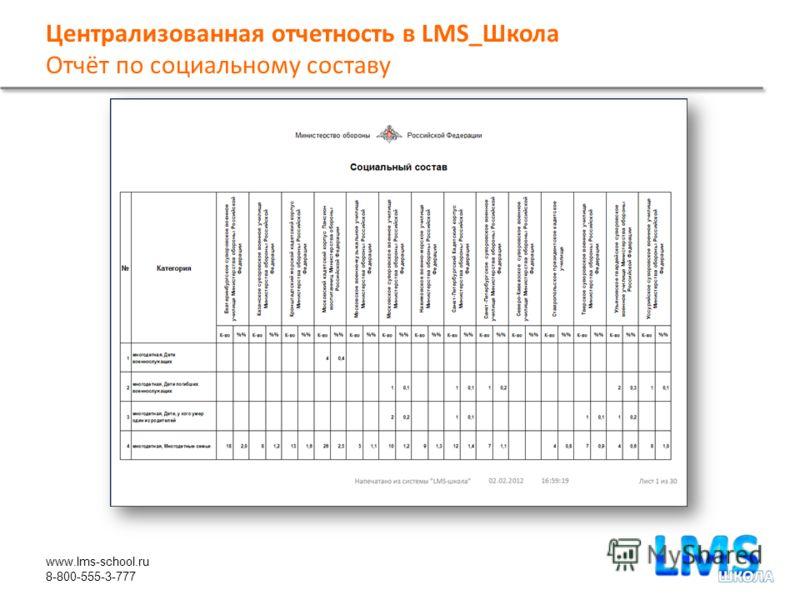 www.lms-school.ru 8-800-555-3-777 Централизованная отчетность в LMS_Школа Отчёт по социальному составу