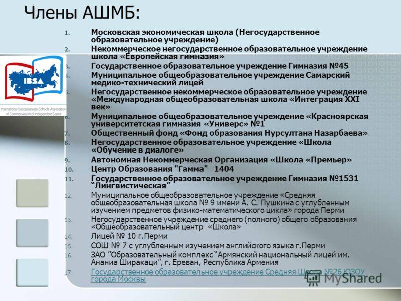 Члены АШМБ: 1. Московская экономическая школа (Негосударственное образовательное учреждение) 2. Некоммерческое негосударственное образовательное учреждение школа «Европейская гимназия» 3. Государственное образовательное учреждение Гимназия 45 4. Муни