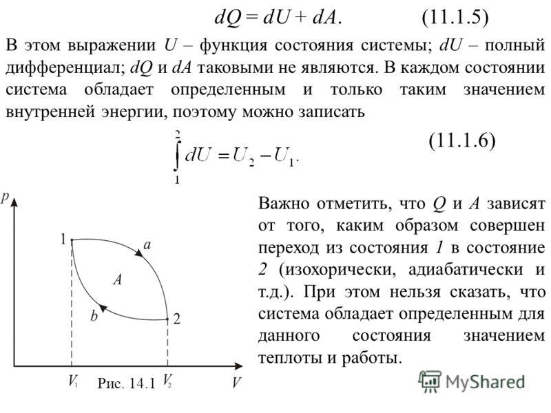 dQ = dU + dA. (11.1.5) В этом выражении U – функция состояния системы; dU – полный дифференциал; dQ и dА таковыми не являются. В каждом состоянии система обладает определенным и только таким значением внутренней энергии, поэтому можно записать (11.1.