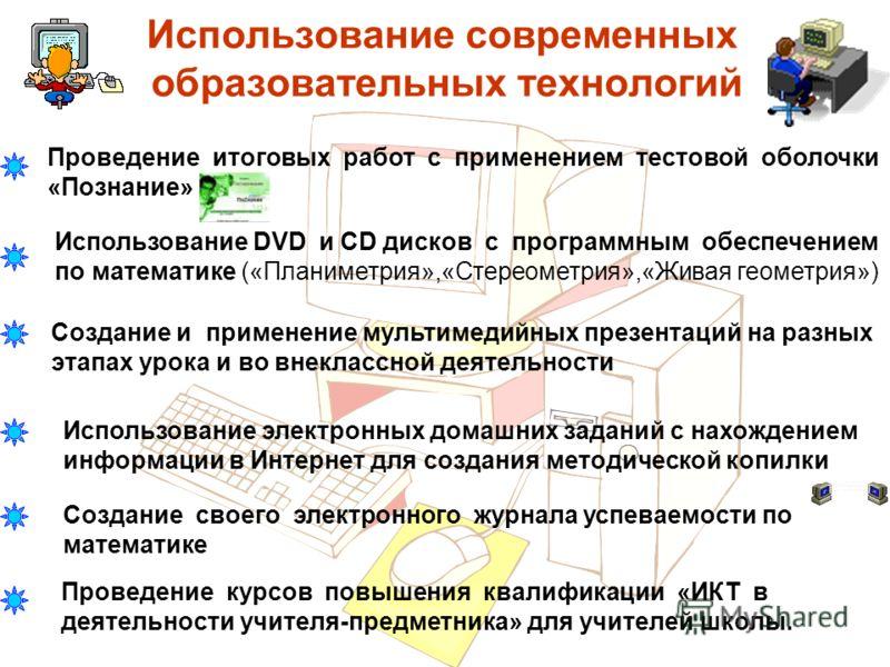 Использование современных образовательных технологий Проведение итоговых работ с применением тестовой оболочки «Познание» Использование DVD и CD диско