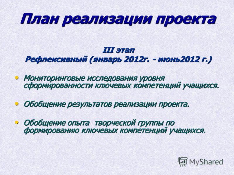 План реализации проекта III этап Рефлексивный (январь 2012г. - июнь2012 г.) Мониторинговые исследования уровня сформированности ключевых компетенций учащихся. Мониторинговые исследования уровня сформированности ключевых компетенций учащихся. Обобщени