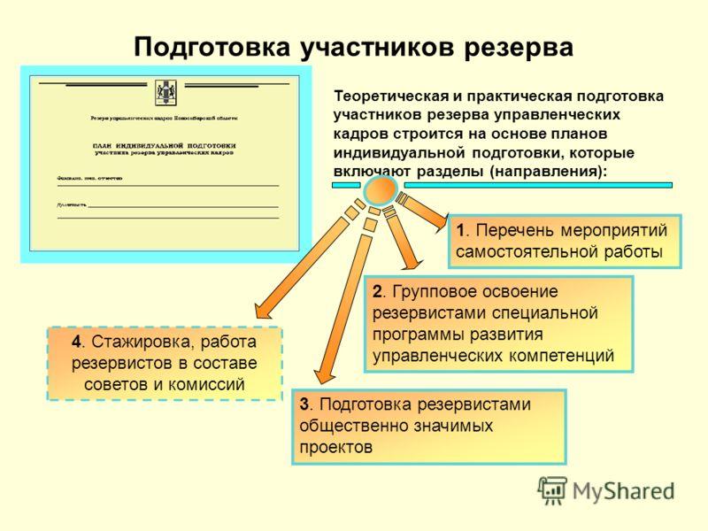 Подготовка участников резерва Теоретическая и практическая подготовка участников резерва управленческих кадров строится на основе планов индивидуальной подготовки, которые включают разделы (направления): 2. Групповое освоение резервистами специальной