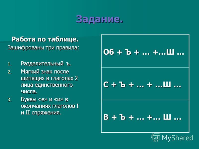 Задание. Работа по таблице. Зашифрованы три правила: 1. Разделительный ъ. 2. Мягкий знак после шипящих в глаголах 2 лица единственного числа. 3. Буквы «е» и «и» в окончаниях глаголов I и II спряжения. Об + Ъ + … +…Ш... С + Ъ + … + …Ш … В + Ъ + … +… Ш