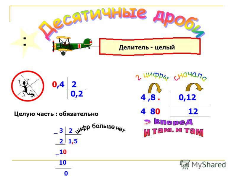 Делитель - целый 0,4 2 0,2 Целую часть : обязательно 4,8. 0,12 4 80 12 _ 3 2 2 1,5 _10 10 0