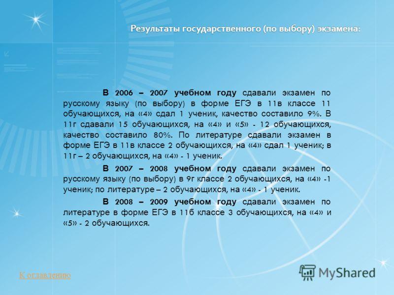 Результаты государственного (по выбору) экзамена: В 2006 – 2007 учебном году сдавали экзамен по русскому языку ( по выбору ) в форме ЕГЭ в 11 в классе 11 обучающихся, на «4» сдал 1 ученик, качество составило 9%. В 11 г сдавали 15 обучающихся, на «4»